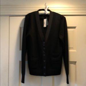 NWT J Crew black 100% Merino wool cardigan